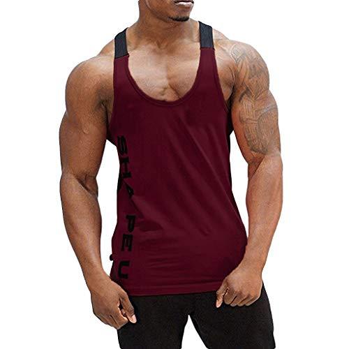 d9628fbac Camiseta de Tirantes Deporte Hombre, Camisetas Tops sin Mangas Basica Fitness  Gym Camiseta Deportiva t