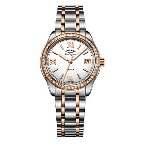 Rotary Women's Quartz Watch with White Dial Analogue Display and Two Tone Stainless Steel Bracelet LB90175/01