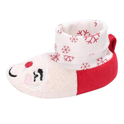 Yanhoo Weihnachten Kleinkind Kind Baby Mädchen Jungen Herde Winter Warme Schneeschuhe Bootie Schuhe A106 männlich Santa warm Stiefel(Rot,13) -