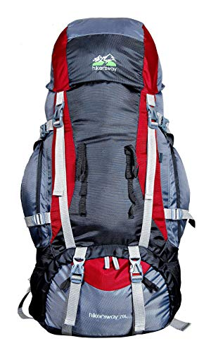 Hiker's way 70 Ltrs Internal Frame Backpack/hiking bag/camping bag/Rucksack/Travelling bag/Trekking bag with rain cover (HW-7001) (Red)