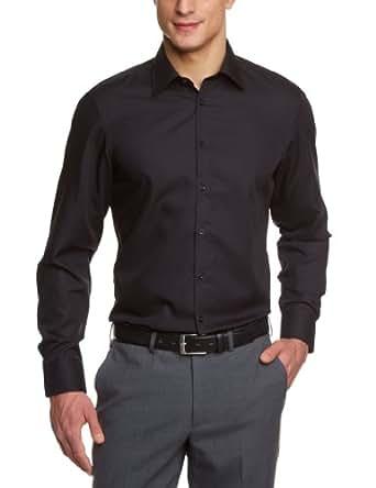 Venti Herren Businesshemd Slim Fit 001480/80, Gr. 35, Schwarz (80 schwarz)