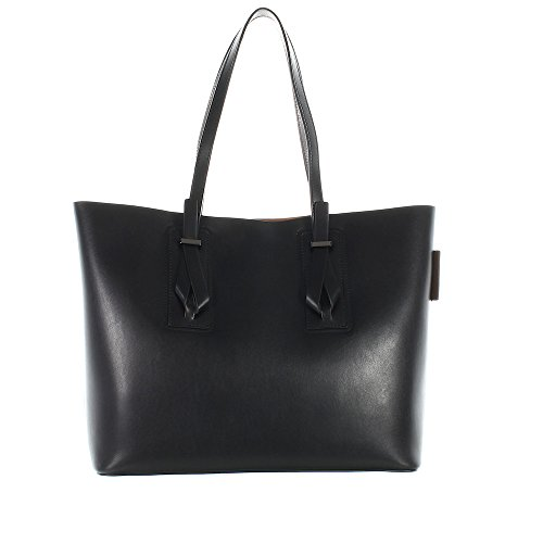 GIANNI CHIARINI Borsa shopping due manici in pelle con sacca interna NERO/CUOIO-NERO BS5365CORLHLMCUO