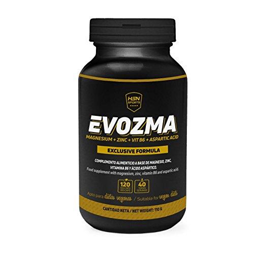 HSN Sports ZMA Zinc Magnesio Vitamina B6 - Evozma – Mejora el Entorno Hormonal elevando los Niveles de Testosterona Naturalmente - 120 cápsulas vegetales
