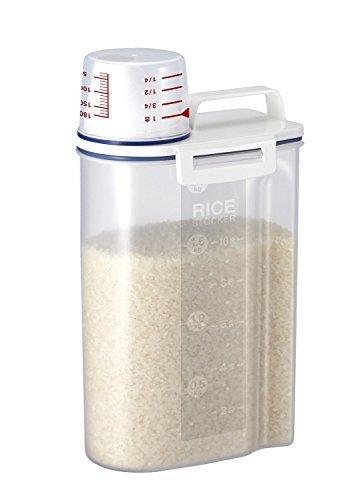 Riz Bin 2 kg Portable Plastique Nourriture Grain Farine de céréales Boîte de rangement Distributeur de riz récipient scellé Réservoir avec verre gradué Eu-hk002 2KG