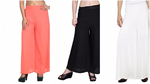 M.G.R.J Palazzo Pant for Women's (Pack Of 3) ( Red, Black, White...