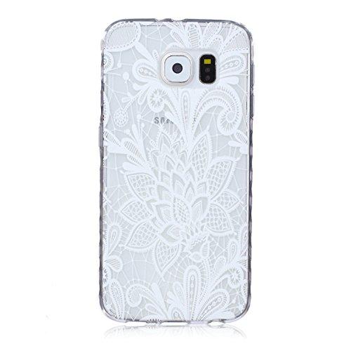 Ekakashop Coque pour Samsung Galaxy S6 SM-G920F, Ultra Slim-Fit Flexible Souple Housse Etui Back Case Cas en Silicone pour Galaxy S6, Soft Cristal Clair TPU Gel imprimée Couverture Bumper de Protectio fleur rose blanche