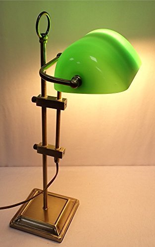 Exklusive Banker Lampe, Bankerslampe, Altmessing, grüner Glasschirm