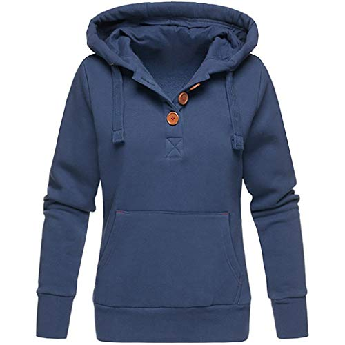 VEMOW Herbst Hoodies Damen Plus Size Langarm Casual Daily Sport Outdoors Freizeit Solid Damen Sweatshirt Kapuzenpullover Tops Shirt Winter Frühling(Blau,XL)