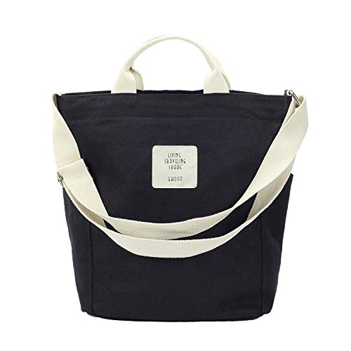 Gupiar Canvas Tasche, Damen Leinwand Schultertasche Handtasche Messenger Bag Hobo Shopper Umhängetasche (Schwarz) -