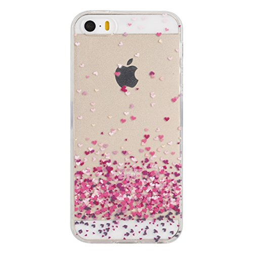 Apple iphone 6 Plus/6s Plus (5,5 pouces) Coque en Soft Silicone TPU Transparente, Ekakashop Créatif Dégradé de couleur Motif de Série Fleur Flexible Souple Gel Housse Etui Cas de Protection pour iphon Pittoresque de Coeur