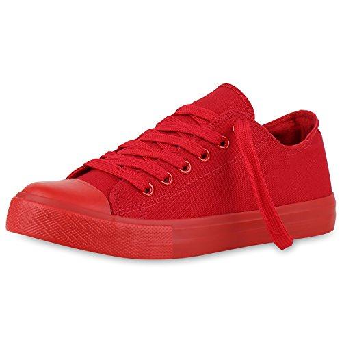 best-boots Damen Turnschuh Sneaker Schnürer Slipper Halbschuhe Sportlich Damen Sneakers Rot All Nuovo 40 (Activewear Rot)