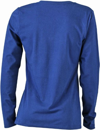 James & Nicholson Damen T-Shirt Langarmshirt Ladies Stretch V Shirt Long Sleeve Navy