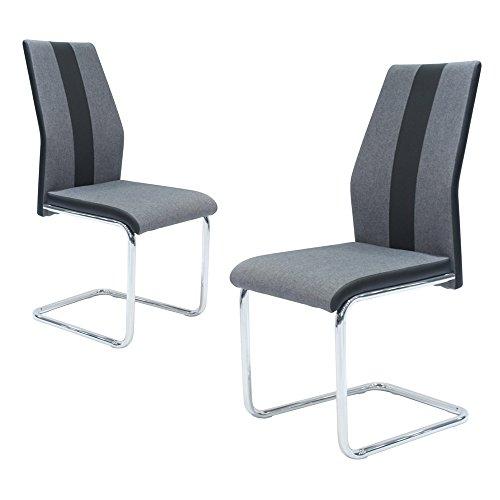 Ambiendi Esszimmerstuhl Schwingstuhl Modern Stil Freischwinger Stuhl KOPER mit ergonomischer Rückenlehne – Grauer Stoffbezug aus Textil und Schwarzem PU Leder, Chrom-Metallgestell (2er Set Stühle)