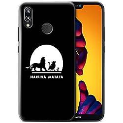 Stuff4 Coque pour Huawei P20 Lite 2018 Animaux Africains Dessin Animé Hakuna Matata Désign Transparent Etui Housse Case Rigide Ultra Mince