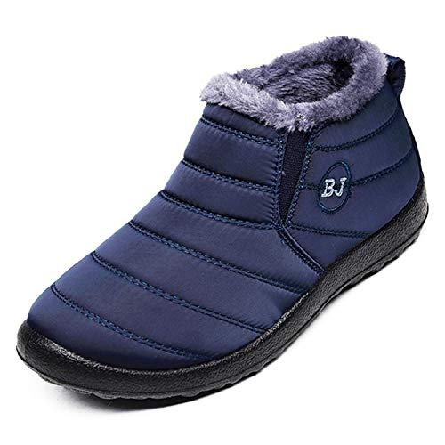 Gaatpot Herren Damen Stiefelette Wasserdicht Winter Freizeitschuhe Warm Gefütterte Rutschfest Schneestiefel Boots, Tiefes Blau, 40.5 EU
