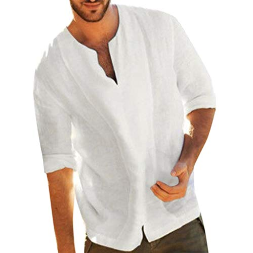 Camisa Hombre Lino Blusa Casual Manga Top Sin Cuello