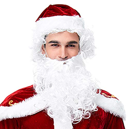 Homelex Männer Weihnachten SAMT Adult Santa Perücke Bart Kostüm Anzug (One Size, Wig Beard)