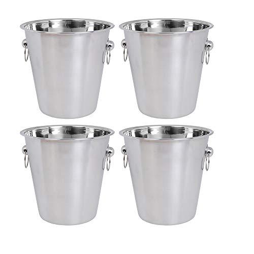 Kosma Edelstahl Champagner Eimer | Weinkühler | Eiskübel - 4 Liter (Packung mit 4 Stück) -