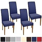 Beautissu Stuhlhussen 4er Set Mia 35-50 cm Stretch Stuhlbezug - Vier Hussen für Stühle im Set - Bi-Elastic Stuhlüberzug Set - Pflegeleichte Stuhlhusse ÖKO-TEX - Blau