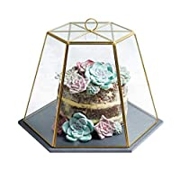 "Artesà Geometric Glass Cheese / Cake Dome with Slate Serving Board, 31 x 27.5 x 25 cm (12"" x 11"" x 10"") - Brass Effect"