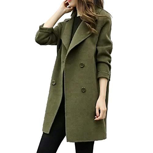 SHOBDW Damen Herbst Winter Jacke Lässige Outwear Parka Cardigan Schlank Mantel Frauen Elegant Solid Knopf Unten Langram Revers Künstliche Wollmantel Trenchcoat Exquisit Windjacke