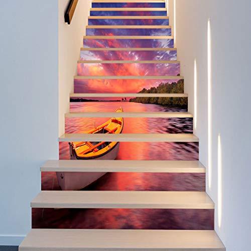 DIY Selbstklebende 3D Treppen Aufkleber Abnehmbare ungiftig rutschfeste wasserdichte Refurbished Treppen Aufkleber Wohnkultur Scenic Lake Hellen Sonnenschein (18 * 100 cm),B