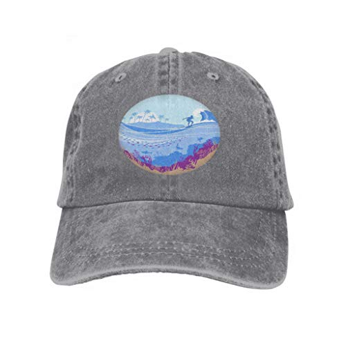 Baseball Cap Adjustable Athletic Custom Trendy Hat for Men and Women Big Ocean Wave Tropical Island Blue Background Surfer Seascape Big Ocean Wave Tropical Island (Surfer Hunde Kostüm)