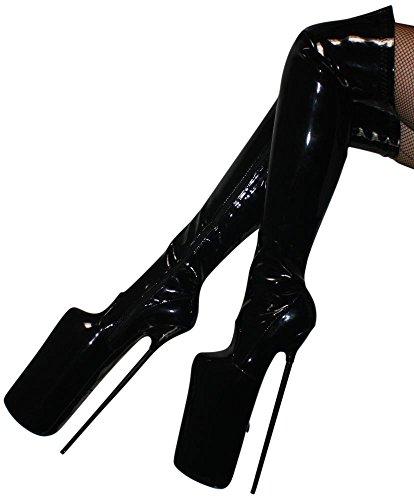 Erogance 30cm Extrem Plateau High Heels Lack Overknees, Bottes pour Femme noir