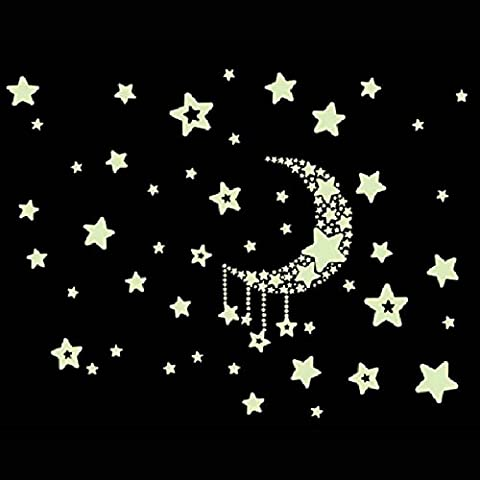Fulltime(TM) Fluorescence Moon Star Glow in Dark Luminous Star Nursery Kid Baby Room Wall Sticker Home