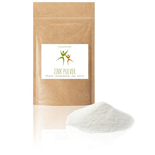 Zink Pulver - 100 g - (Citrat, Trihydrat) - Zinkgehalt 31% - 100% vegan - Produktionsfrishe Ware in Lebensmittel-Qualität - glutenfrei - laktosefrei - OHNE Hilfs- u. Zusatzstoffe - 100% Pulver