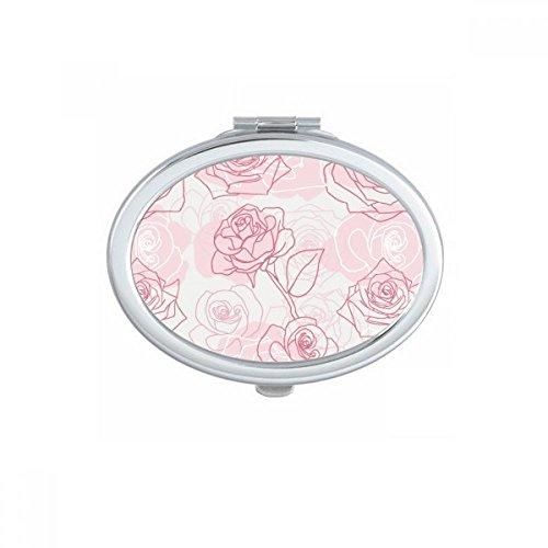 DIYthinker Peinte à la Main Rose Fleur Plante Ovale Miroir de Maquillage Compact Portable Cute Cadeau Miroirs de Poche à la Main Multicolore