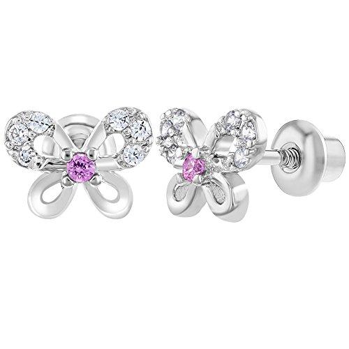 In Season Jewelry Kleinkind Kinder - Schraubverschluss Ohrringe Klar Schmetterling Rhodiniert Rosa CZ Zirkonia -