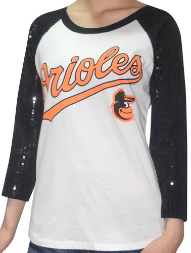 MLB Womens Baltimore Orioles 3/4 Sleeve Shirt with Sequins White & Black