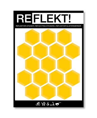 REFLEKT! Waben Gelb (Design und Farbe wählbar) Reflektoren Aufkleber/Sticker - selbstklebend reflektierend Sicherheitsaufkleber für Fahrrad, Kinderwagen, Buggy, Helm, Fahrradhelm