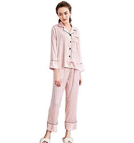 yifutang Logeliy Frauen Frühling Seide Pyjama-Set Damen Rote und weiße Streifen Homewear V-Kragen Langarm + Hosen Nachtwäsche, M (Frauen Weiße Seide Hose)