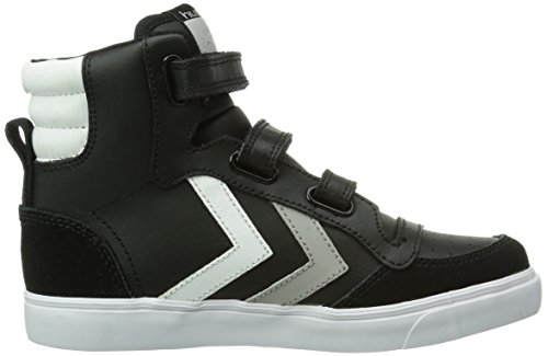 hummel  HUMMEL STADIL JR LEATHER LOW, Baskets hautes mixte enfant Noir (Black/White/Grey)