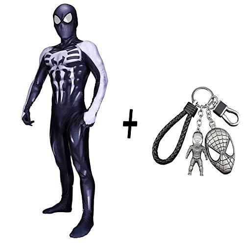 WEDSGTV Venom Spiderman Kleidung Dye Print Lycra Adult Movie Show Kostüm Halloween Overall Maskerade Party Dress Up Boy Thema Party + Spiderman Schlüsselbund - Macht Party Stadt Haben Kostüm