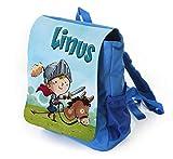 Kinderrucksack für Kleine Ritter in blau mit Name Bedruckt, Ideal für Kita/Kindergarten, Kindergartentasche