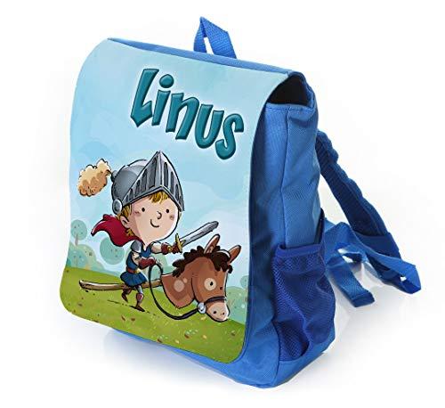 Kinderrucksack für kleine Ritter in blau mit Name Bedruckt, Ideal für Kita/Kindergarten, Kindergartentasche -