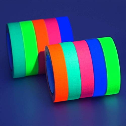 GIGALUMI 10er-Pack UV Schwarzlicht Fluoreszierend Klebeband Neon Gaffa Tape in 5 Neonfarben (13mm x 5 m)