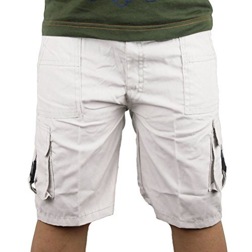 Boys Shorts Plain Color Cargo Summer Kids Multi Pockets Lightweight (4 years, White)