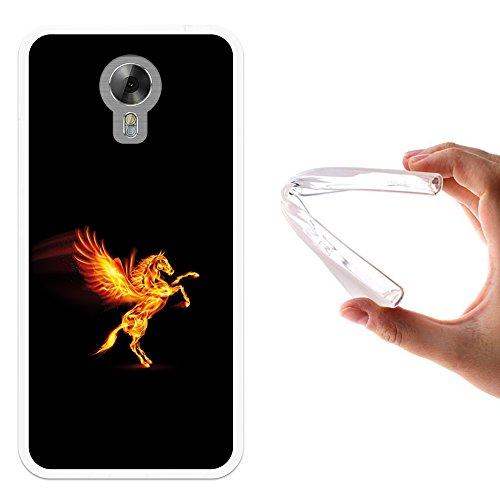 WoowCase Acer Liquid Z6 Plus Hülle, Handyhülle Silikon für [ Acer Liquid Z6 Plus ] Abstrakter Feuerpegasus Handytasche Handy Cover Case Schutzhülle Flexible TPU - Transparent