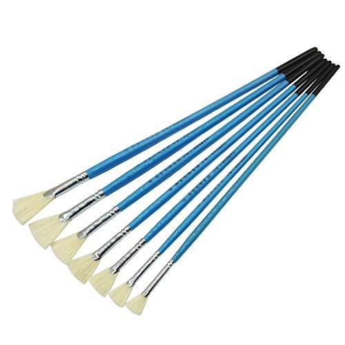 7 Pluma en Forma de Abanico Cepillo de Pintura Natural Piglet Agua Tiza Acrílico Acuarela Pincel Arte Suministros de Pintura (Color : Blue)