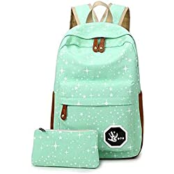Minetom Lona Backpack Mochilas Escolares Mochila Escolar Casual Bolsa Viaje Moda Salpicado De Estrellas 2 Piezas Embrague Verde One Size(28*13*42 Cm)