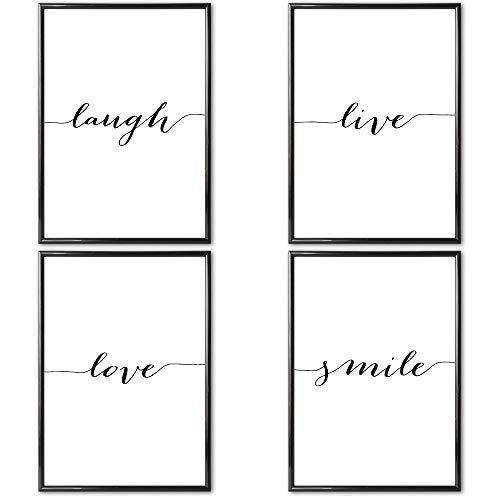Heimlich® Premium Poster (4 Stück in DIN A4) | Große Auswahl an Motiven im Shop | auch mit Rahmen » LIVE Love Laugh Smile «