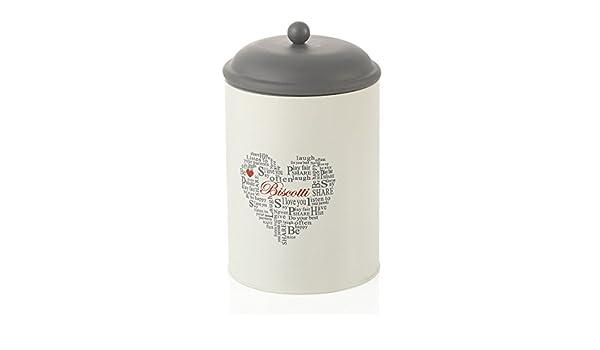 MONTEMAGGI Biscottiera cilindrica in ferro smaltato colore bianco e ardesia in stile shabby chic Dimensione 13,5x13,5x17 cm Contenitore per biscotti con coperchio a chiusura ermetica con scritte e decorazione