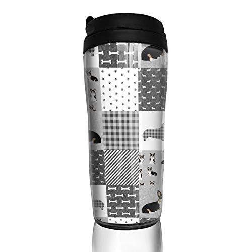 Tri Corgi Dog 16352 Haustierdecke für E-Hund, Hunde, Haustierdecke, Blumenmuster, Kaffeetasse, 340 ml, auslaufsicher, mit Klappdeckel, Wasserflasche, umweltfreundliches Material ABS