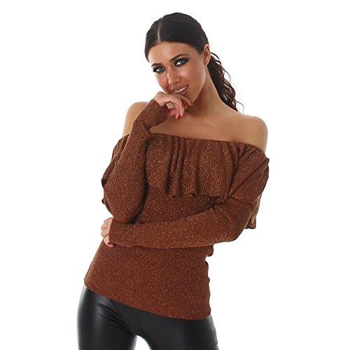 VOYELLES Damen Pullover im Oversized Stil, in vielen Farben erhältlich, Größe 36-42 Bronze