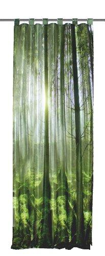 Home fashion 48133-868 - tenda con passanti, stampa digitale, motivo: bosco, tessuto decorativo effetto seta, 245 x 120 cm, colore verde