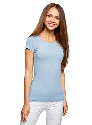 oodji Ultra Damen Tailliertes T-Shirt Basic (2er-Pack), Blau, DE 36 / EU 38 / S